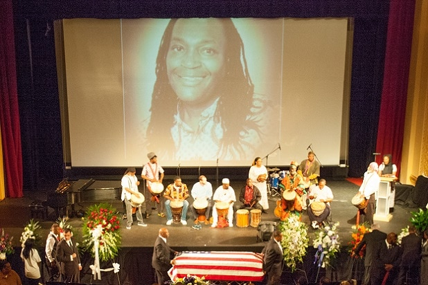 PEEKSKILL, NY - JUNE 12: A general view at James McNair's funeral service at Paramount Theater on June 12, 2014 in Peekskill, New York. McNair was killed on the New Jersey turnpike in an multi-vehicle accident that seriously injured fellow comedian Tracy Morgan on June 7, 2014. (Photo by Kenneth Gabrielsen/Getty Images)