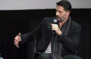 Joe Manganiello moderating a panel after a screening of The Resurrection of Jake the Snake