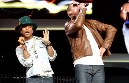 Pharrell Williams, Robin Thicke perform at Walmart 2014 annual shareholders meeting, 6/6/14 (Jamie McCarthy/Getty Images for Walmart)