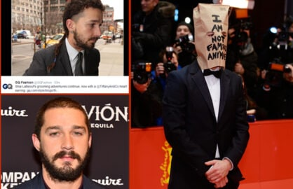 Shia Labeouf style choices (@GQFashion, Twitter.com/Getty Images)