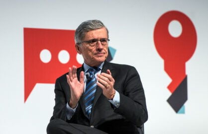 FCC Chairman Tom Wheeler delivers keynote address at the Mar. 3 Mobile World Conference in Spain (David Ramos/Getty Images)