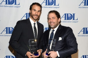 Silverman and Ratner at the Beverly Hilton on Monday night. (Michael Kovac/Getty Images for the ADL)
