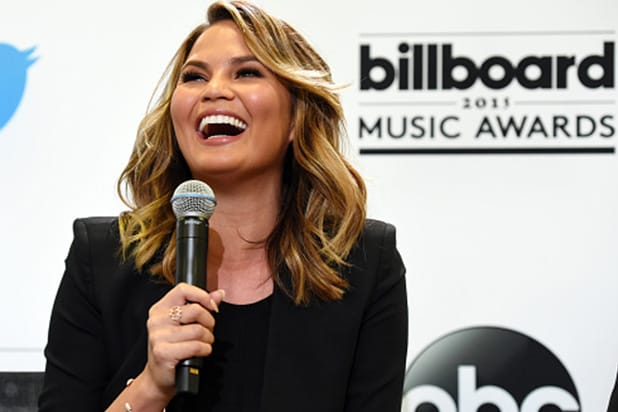 SANTA MONICA, CA - APRIL 07: Model Chrissy Teigen announces the 2015 Billboard Music Awards Finalists at Twitter on April 7, 2015 in Santa Monica, California