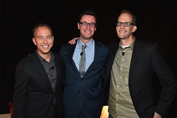 Disney at CinemaCon 2015: Writer/director Pete Docter, Walt Disney Studios EVP of Theatrical Distribution Dave Hollis and producer Jonas Rivera