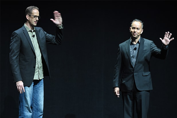 Disney at CinemaCon 2015: Writer/director Pete Docter (L) and producer Jonas Rivera