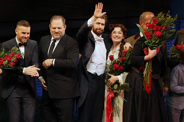 NEW YORK, NY - APRIL 15: (L-R) Writer James Graham, director Diane Paulus, composer Gary Barlow, producer Harvey Weinstein, actor Matthew Morrison and actress Laura Michelle Kelly take a bow at curtain call for the opening night performance of 'Finding Neverland' at the Lunt-Fontanne Theatre on April 15, 2015 in New York City. (Photo by Jemal Countess/Getty Images)