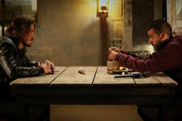 Garrett Hedlund and Oscar Isaac in Mojave