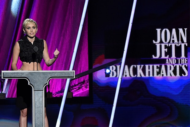 CLEVELAND, OH - APRIL 18: Miley Cyrus speaks onstage during the 30th Annual Rock And Roll Hall Of Fame Induction Ceremony at Public Hall on April 18, 2015 in Cleveland, Ohio. (Photo by Mike Coppola/Getty Images)