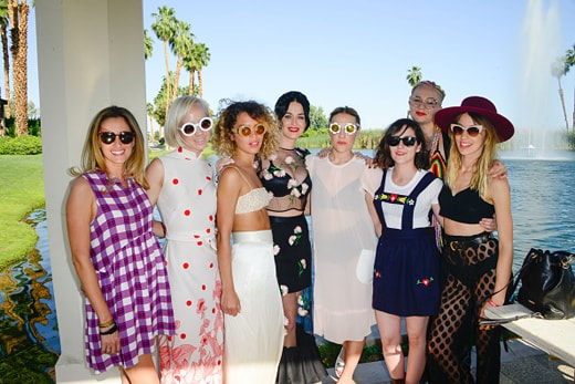 LA QUINTA, CA - APRIL 11: Musician Caitlin Moe (2nd from Left), Katy Perry (Center) with Mia Moretti and friends at Soho Desert House on April 11, 2015 in La Quinta, California. (Photo by Michael Bezjian/Getty Images for Soho House)