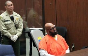 Caption:LOS ANGELES, CA - APRIL 08: Marion 'Suge' Knight appears in court with his Lawyer Matthew P Fletcher for a preliminary hearing in a robbery charge case at Criminal Courts Building on April 8, 2015 in Los Angeles, California. Knight is charged with robbery and criminal threats after allegedly stealing a photographer's camera during an incident September 5, 2014 in Beverly Hills. (Photo by David Buchan/Getty Images)