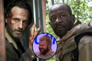"""Robert Kirkman (inset) talks Rick and Morgan from """"The Walking Dead"""" (NAB/AMC)"""