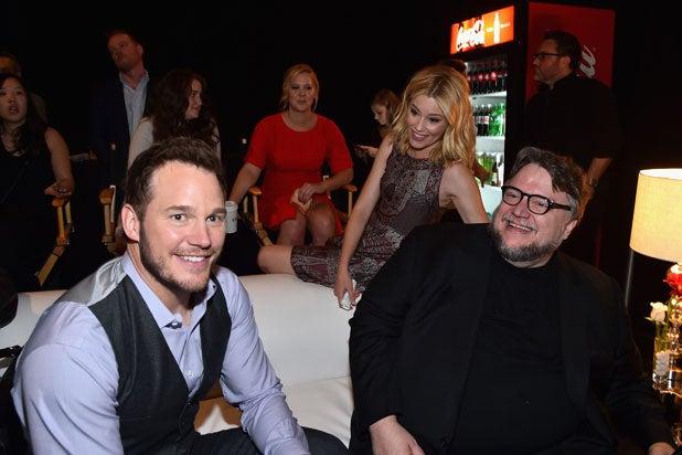 CinemaCon Universal presentation: (L-R) Actors Chris Pratt, Elizabeth Banks and director Guillermo del Toro (Alberto E. Rodriguez/Getty Images for CinemaCon)