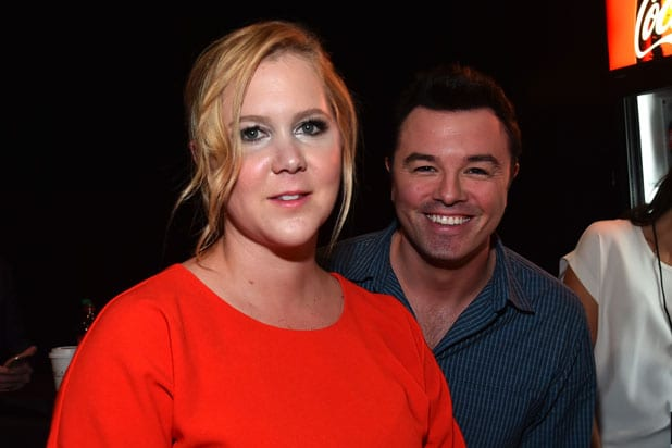 CinemaCon Universal presentation: Comedian Amy Schumer and Seth MacFarlane (Alberto E. Rodriguez/Getty Images for CinemaCon)