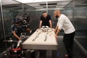 Ex Machina writer-director Alex Garland with star Oscar Isaac (A24)