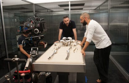 Ex Machina writer-director Alex Garland with star Oscar Isaac (A24)