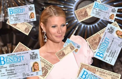 New York State EBT card; US food stamps; Gwyneth Paltrow at 87th Annual Academy Awards, Hollywood, CA, Feb 22, 2015 (Kevin Winter/Getty Images)