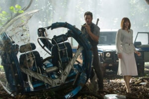"Chris Pratt and Bryce Dallas Howard star in ""Jurassic World"""