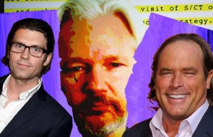Publisher Jay Penske, Julian Assange, Steve Mosko, President, Sony Pictures Television (Michael Buckner/Hannah Peters/Bryan Bedder/Getty Images)