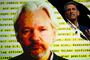 Wikileaks founder Julian Assange; Michael Lynton, CEO of Sony Entertainment and Chairman and CEO Sony Pictures Entertainment (Hannah Peters/Eric Thayer/Getty Images)