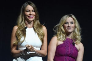 Warner Bros. CinemaCon 2015: 'Hot Pursuit' Actresses Sofia Vergara and Reese Witherspoon (Michael Buckner/Getty Images for CinemaCon)