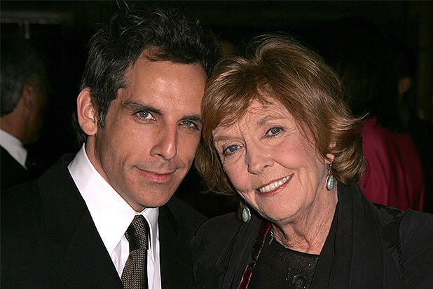BEL AIR, CA- NOVEMBER 11: (l-r) Ben Stiller and mother Anne Meara pose for a photo at the Yves Saint Laurent Grand classics Screening of 'Sweet Smell of Sucess' hosted by Ben Stiller and Christine Taylor at the Playboy Mansion on November 11, 2004 in Bel Air, California. (Photo by Frazer Harrison/Getty Images)