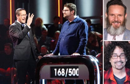 "Richard Quest hosts the season finale of ""500 Questions"" Thursday night, May 28, a primetime event gameshow created by reality godfathers Mark Burnett (top) and Mike Darnell (bottom). (ABC Medianet; Getty Images (2))"