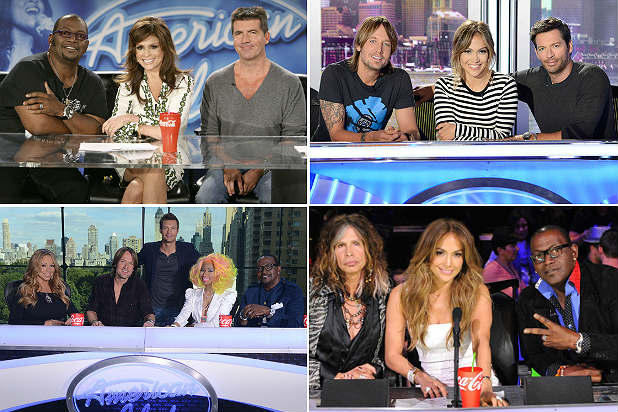 American Idol, Jennifer Lopez, Randy Jackson, Paula Abdul, Mariah Carey, Nicki Minaj, Randy Jackson, Jennifer Lopez, Keith Urban, Harry Connick Jr.