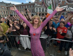 Drag queen artist and Yes campaign activist, Panti Bliss joins Irish supporters in favour of same-sex marriage