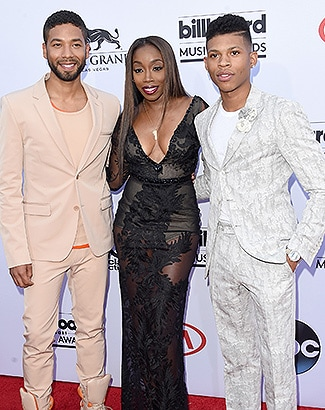 LAS VEGAS, NV - MAY 17: (L-R) Actor Jussie Smollett, singer Estelle, and actor Bryshere Y. Gray attend the 2015 Billboard Music Awards at MGM Grand Garden Arena on May 17, 2015 in Las Vegas, Nevada. (Photo by Jason Merritt/Getty Images)