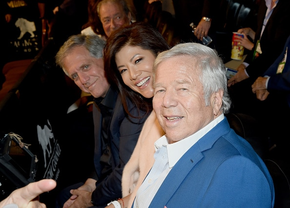Les Moonves, Julie Chen, Bob Kraft Mayweather Pacquiao Fight Ethan Miller