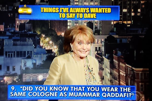 David Letterman final late show Top 10: Barbara Walters No. 9 (CBS)