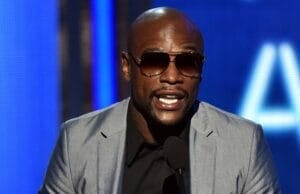 LOS ANGELES, CA - JUNE 29: Boxer Floyd Mayweather Jr. speaks onstage during the BET AWARDS '14 at Nokia Theatre L.A. LIVE on June 29, 2014 in Los Angeles, California. (Photo by Kevin Winter/Getty Images for BET)