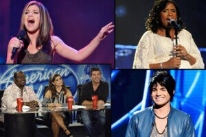"Previous ""American Idol"" contestants Kelly Clarkson; Jennifer Hudson; Adam Lambert; judges Randy Jackson, Paula Abdul, Simon Cowell"