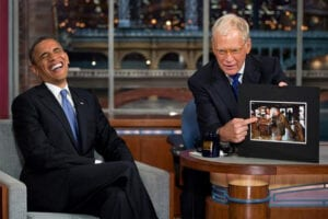 President Barack Obama and David Letterman