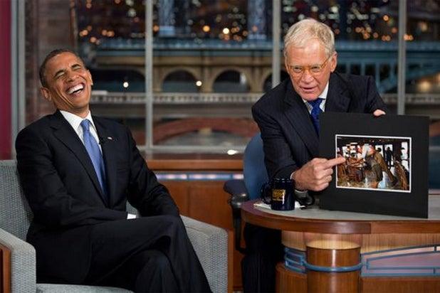 President Barack Obama and David Letterman