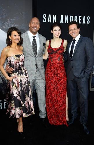 San Andreas premiere Carla Gugino, Dwayne 'The Rock' Johnson, Alexandra Daddario, Ioan Gruffudd (Frazer Harrison/Getty Images)
