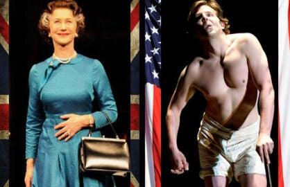 "Helen Mirren, ""The Audience""; Bradley Cooper, ""Elephant Man"" (British flag, iStock; US flag Getty)"