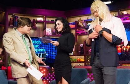 """Watch What Happens Live"" Andy Cohen, Vanessa Hudgens, Kellan Lutz"