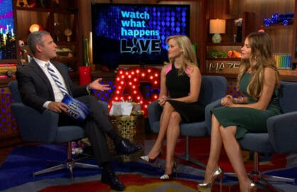 """Watch What Happens Live"" host Andy Cohen with ""Hot Pursuit"" stars Reese Witherspoon and Sofia Vergara"