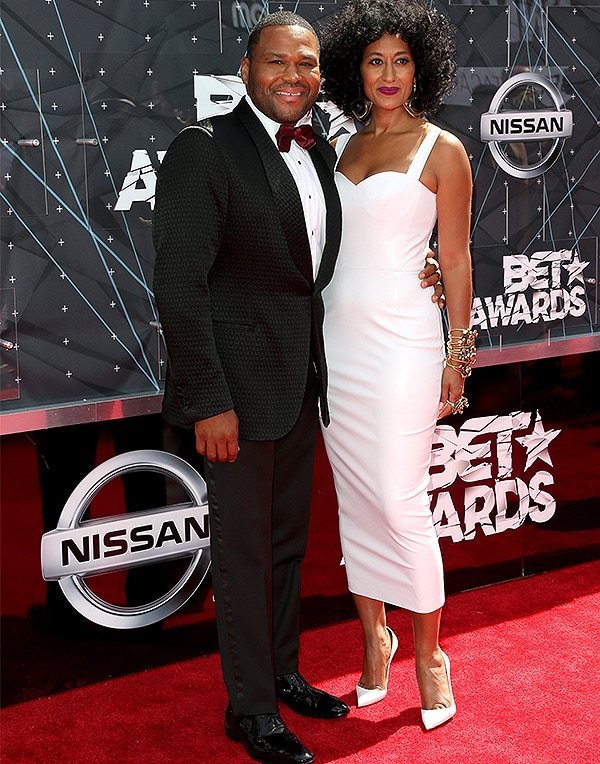 LOS ANGELES, CA - JUNE 28: Co-hosts Anthony Anderson (L) and Tracee Ellis Ross attend the 2015 BET Awards at the Microsoft Theater on June 28, 2015 in Los Angeles, California. (Photo by Frederick M. Brown/Getty Images for BET)