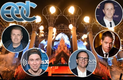 "EDC Founder Pasquale Rotella, ""World's #1 DJ"" Hardwell, and the symbiotic nightlife executives that fuel Vegas's biggest music weekend: Wynn's Sean Christie and Jesse Waits, and Hakkasan's Neil Moffitt. (Getty Images)"
