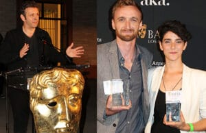 """Michael Sheen speaks at the BAFTA US Student Film Awards in Beverly Hills. Awards went to """"Day One"""" (represented by Michael Steiner, left) and """"Lucy"""" (director Zoe Lubeck, at right). (Getty Images)"""