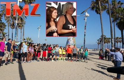 "Shevonne Sullivan (left) and Kelly Berning (right) appear daily on ""TMZ"". Now they are racing on CBS' ""Amazing Race"", in production as of Monday, June 22. (Mikey Glazer)"