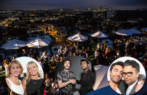 """Sharon Waxman and """"Empire's"""" Kaitlin Doubleday, """"Silicon Valley's"""" Thomas Middleditch and Kumail Nanjiani, and """"Jane the Virgin's"""" Justin Baldoni and Jaime Camil at TheWrap's Emmy party on June 11. (Getty Images; Ted Soqui)"""
