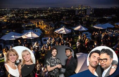 "Sharon Waxman and ""Empire's"" Kaitlin Doubleday, ""Silicon Valley's"" Thomas Middleditch and Kumail Nanjiani, and ""Jane the Virgin's"" Justin Baldoni and Jaime Camil at TheWrap's Emmy party on June 11. (Getty Images; Ted Soqui)"