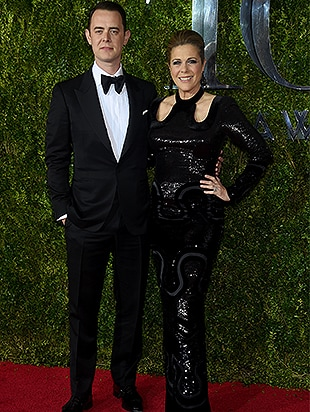 NEW YORK, NY - JUNE 07: Colin Hanks and mom Rita Wilson attend the 2015 Tony Awards at Radio City Music Hall on June 7, 2015 in New York City. (Photo by Dimitrios Kambouris/Getty Images for Tony Awards Productions)