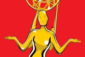 Illustration by Brian Taylor for TheWrap; Emmy statuette (R) ATAS/NATAS