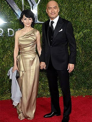 NEW YORK, NY - JUNE 07: Ken Watanabe (R) and Kaho Minami attend the 2015 Tony Awards at Radio City Music Hall on June 7, 2015 in New York City. (Photo by Dimitrios Kambouris/Getty Images for Tony Awards Productions)