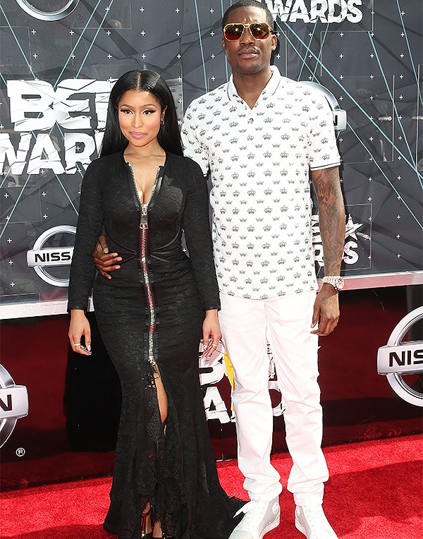 LOS ANGELES, CA - JUNE 28: Rappers Nicki Minaj (L) and Meek Mill attend the 2015 BET Awards at the Microsoft Theater on June 28, 2015 in Los Angeles, California. (Photo by Frederick M. Brown/Getty Images for BET)