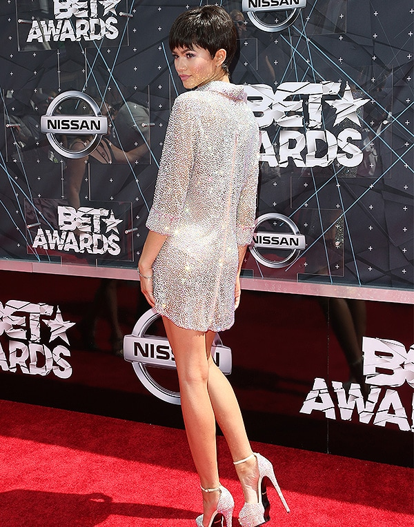 Caption:LOS ANGELES, CA - JUNE 28: Actress Zendaya attends the 2015 BET Awards at the Microsoft Theater on June 28, 2015 in Los Angeles, California. (Photo by Frederick M. Brown/Getty Images for BET)